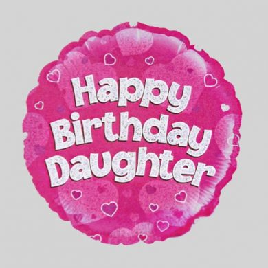 Happy Birthday Daughter Balloon - Holographic Pink with hearts