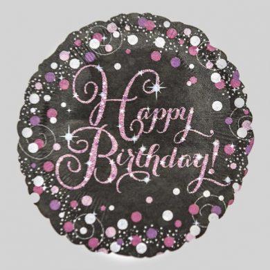 Holographic Sparkling Pink - Purple Happy Birthday