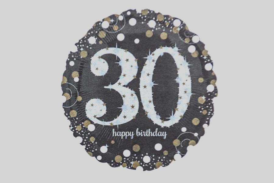 Holographic Sparkling Silver Gold Happy Birthday 30 Helium Balloon