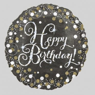 Holographic Sparkling Silver & Gold Happy Birthday