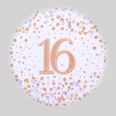 16 Helium Balloon - Sparkling Fizz Rose Gold, White