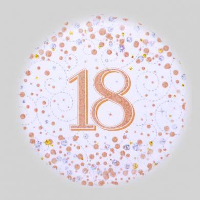 18 Balloon - Sparkling Fizz Rose Gold, White