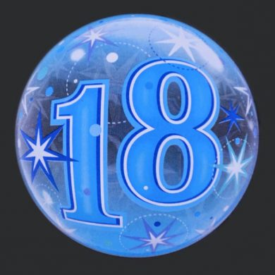 18 - Blue Clear Bubble Helium Balloons