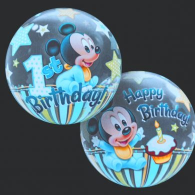 1st Birthday - Mickie Mouse - Clear Bubble Helium Balloons