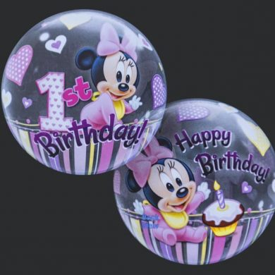 1st Birthday - Minnie Mouse - Clear Bubble Helium Balloons
