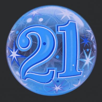 21 - Blue Clear Bubble Helium Balloons