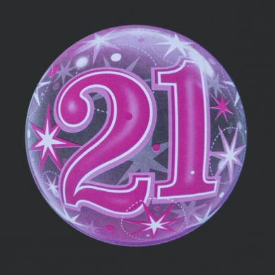 21 - Pink Clear Bubble Helium Balloons