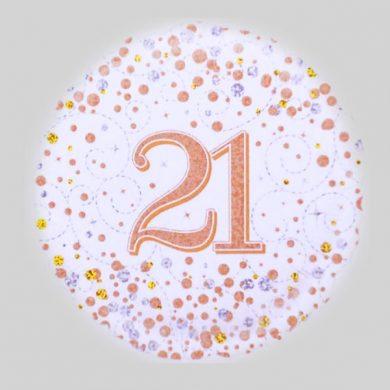 21 Helium Balloon - Sparkling Fizz Rose Gold, White