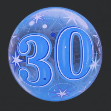 30 - Blue Clear Bubble Helium Balloons