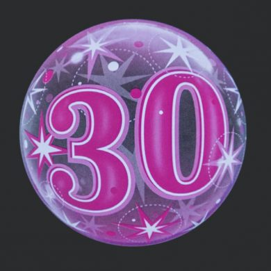 30 - Pink Clear Bubble Helium Balloons