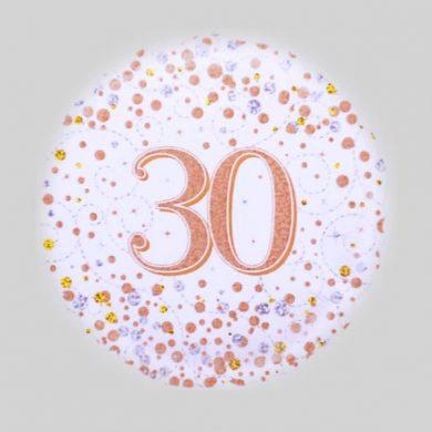 30 Helium Balloon - Sparkling Fizz Rose Gold, White