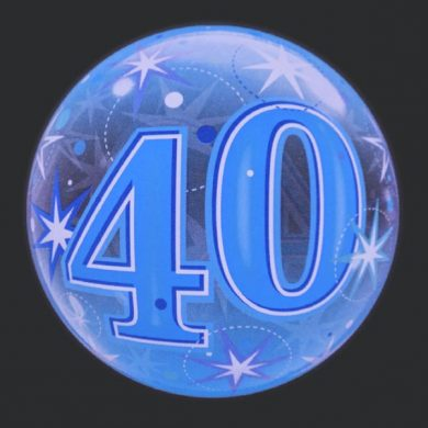 40 - Blue Clear Bubble Helium Balloons