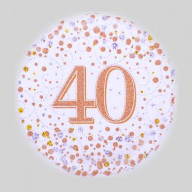 40 Helium Balloon - Sparkling Fizz Rose Gold, White