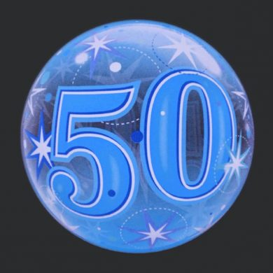 50 - Blue Clear Bubble Helium Balloons