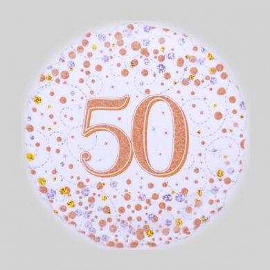 50 Helium Balloon - Sparkling Fizz Rose Gold, White
