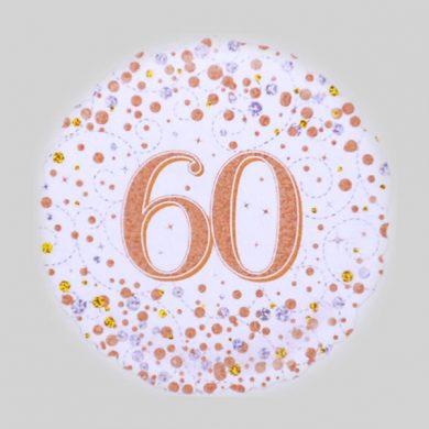 60 Helium Balloon - Sparkling Fizz Rose Gold, White