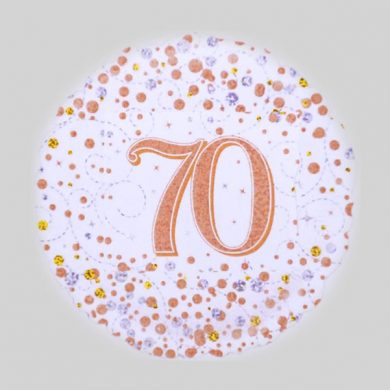 70 Helium Balloon - Sparkling Fizz Rose Gold, White