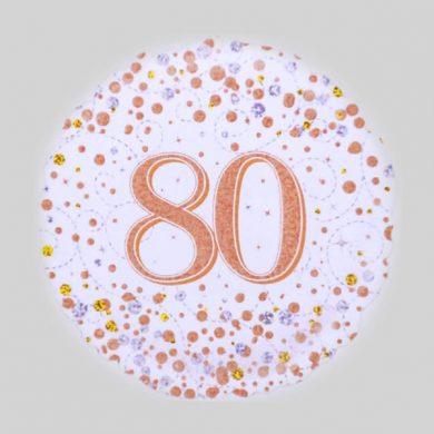 80 Helium Balloon - Sparkling Fizz Rose Gold, White