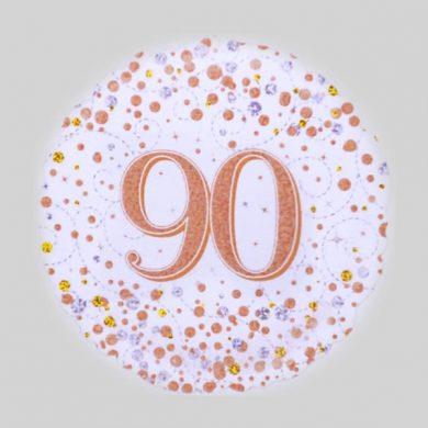 90 Helium Balloon - Sparkling Fizz Rose Gold, White