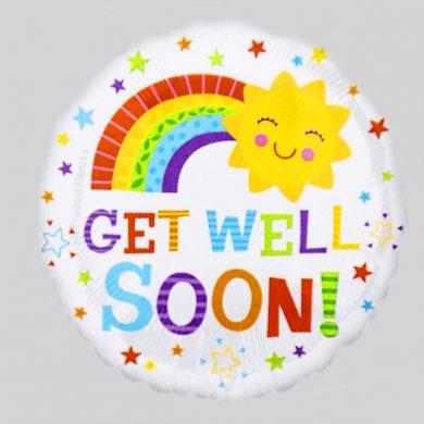 Get Well Soon Rainbow Helium Balloons