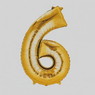 Giant Gold Number 6 Balloon