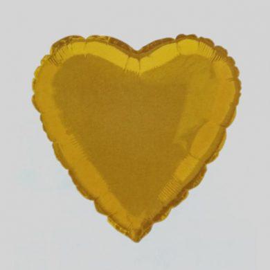 Gold Heart Helium Balloon