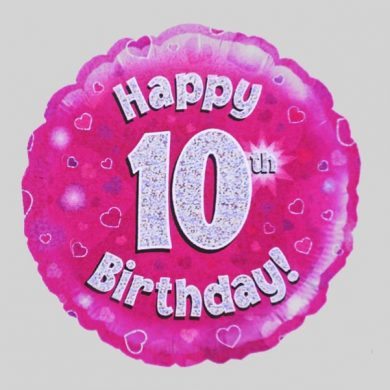 Happy 10th Birthday Helium Balloon Holographic Sparkling Pink