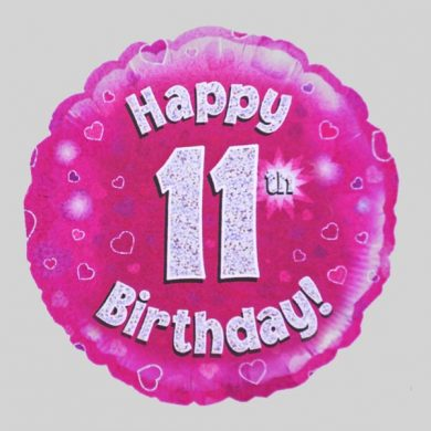 Happy 11th Birthday Helium Balloon Holographic Sparkling Pink