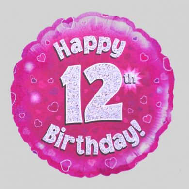 Happy 12th Birthday Balloon - Holographic Pink with hearts