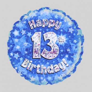 Happy 13th Birthday Balloon - Holographic Blue with stars