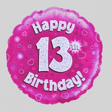 Happy 13th Birthday Balloon - Holographic Pink with hearts