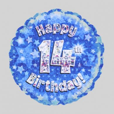 Happy 14th Birthday Balloon - Holographic Blue with stars