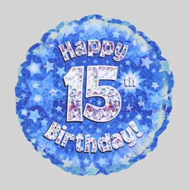 Happy 15th Birthday Balloon - Holographic Blue with stars