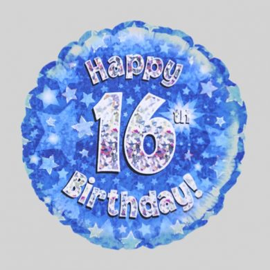 Happy 16th Birthday Balloon - Holographic Blue with stars