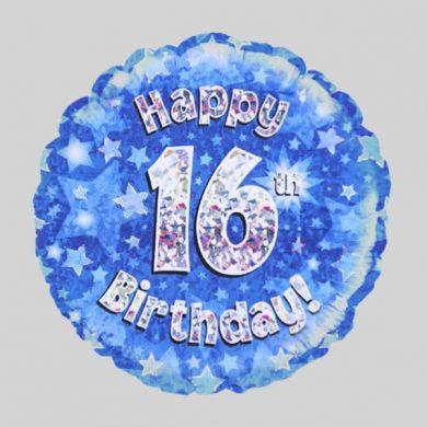 Happy 16th Birthday Helium Balloon Holographic Sparkling Blue