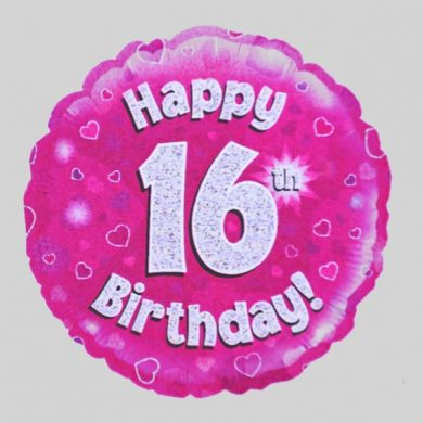 Happy 16th Birthday Balloon - Holographic Pink with hearts