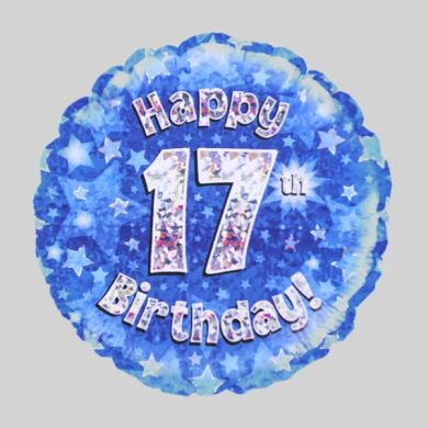 Happy 17th Birthday Balloon - Holographic Blue with stars