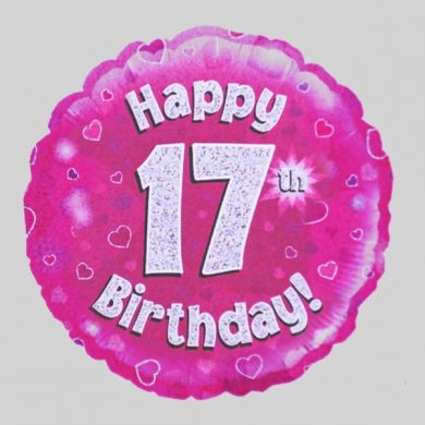 Happy 17th Birthday Balloon - Holographic Pink with hearts