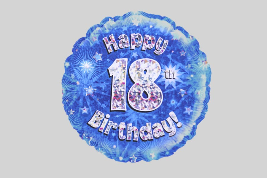 happy 18th birthday helium balloon holographic sparkling blue