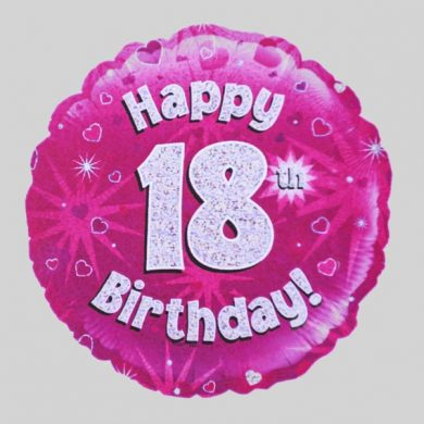 Happy 18th Birthday Balloon - Holographic Pink with hearts
