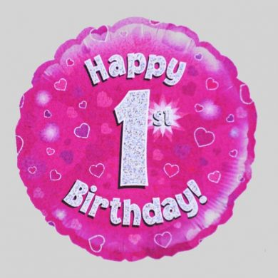 Happy 1st Birthday Balloon - Holographic Pink with hearts