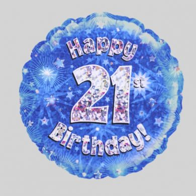 Happy 21st Birthday Balloon - Holographic Blue with stars