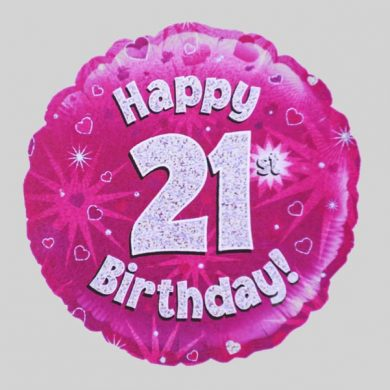 Happy 21st Birthday Balloon - Holographic Pink with hearts