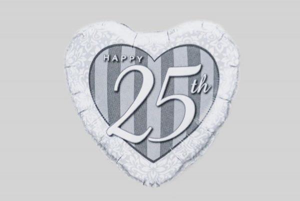 Happy 25th Anniversary Heart Helium Balloon