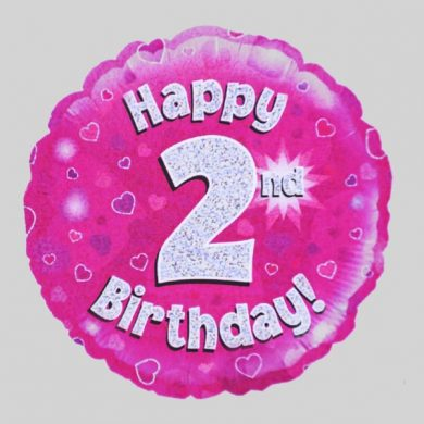 Happy 2nd Birthday Balloon - Holographic Pink with hearts