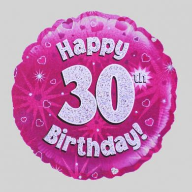 Happy 30th Birthday Balloon - Holographic Pink with hearts