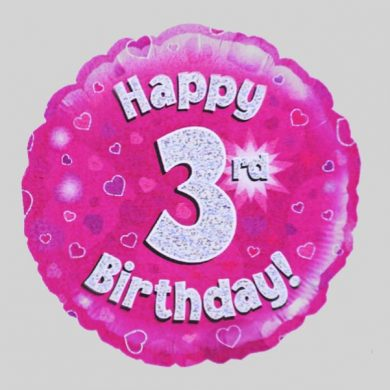 Happy 3rd Birthday Balloon - Holographic Pink with hearts