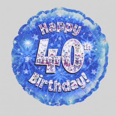 Happy 40th Birthday Balloon - Holographic Blue with stars