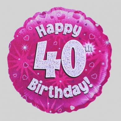Happy 40th Birthday Balloon - Holographic Pink with hearts