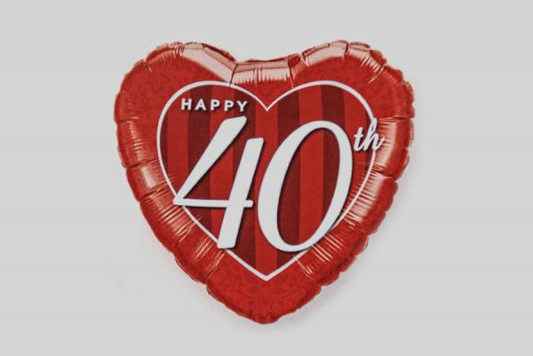 Happy 40th Red Heart Helium Balloons